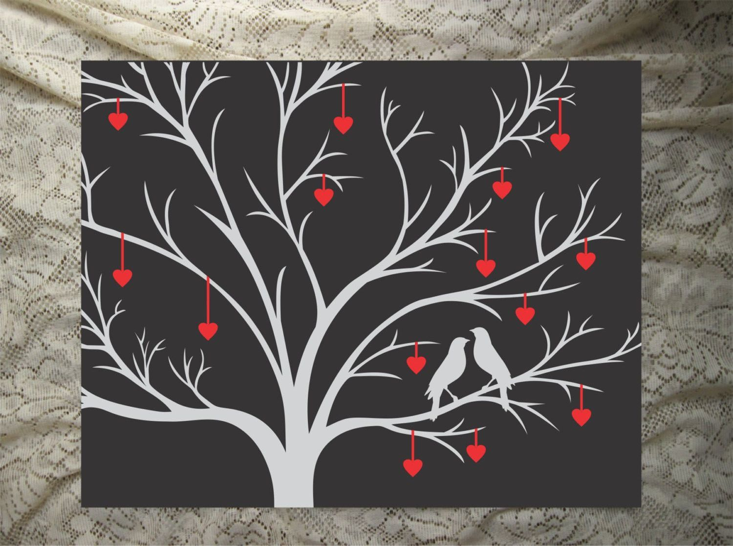 Hand painted canvas wall art love birds in heart tree
