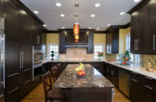 U Shaped Kitchen With Espresso Cabinets on breakfast room cabinets, l-shaped corner cabinets, u-shaped outdoor kitchens, u-shaped living room furniture, dining room cabinets, living room cabinets, u-shaped restaurant booths, l-shaped hinges for cabinets, chrome edging trim for cabinets, powder room cabinets, foyer cabinets, kitchens without upper cabinets,