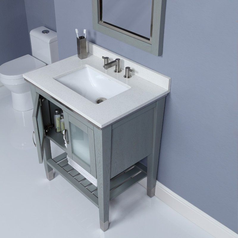 30 Inch Slate Finish Contemporary Bathroom Vanity With Images