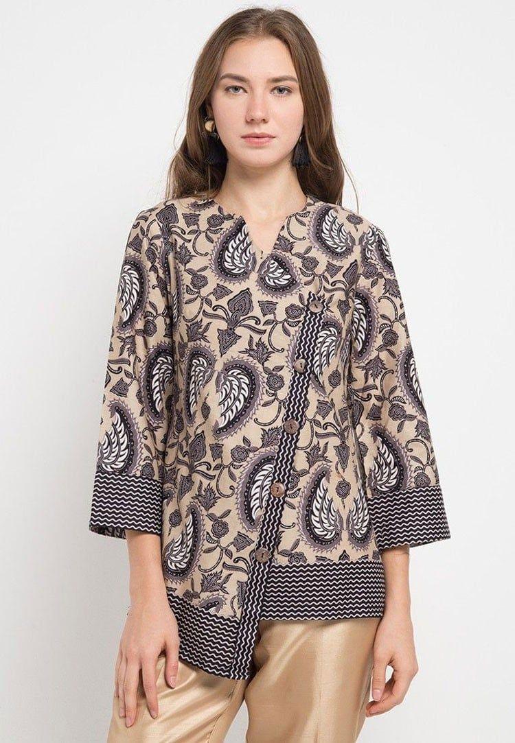 Model Baju Kerja Batik Formal Wanita Berjilbab  Desain blus, Baju