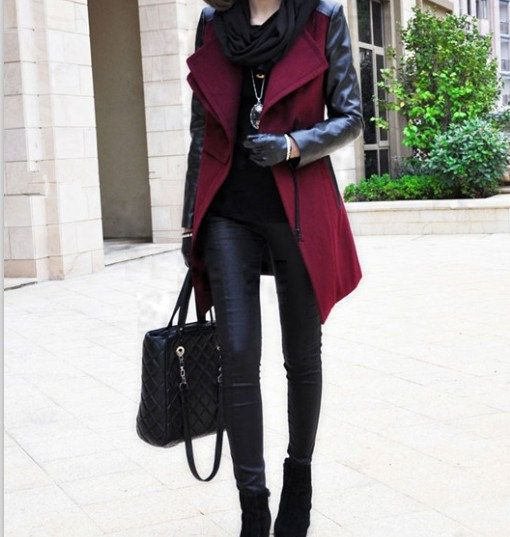 Women Red and Black Wool coat Cashmere coat winter coat leather ...