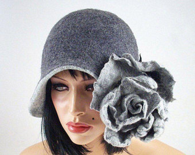 Gray hat Felted hat with flower  Felt hat Great Gatsby hat 1920s hat unique merino wool silk nunofelt nuno retro