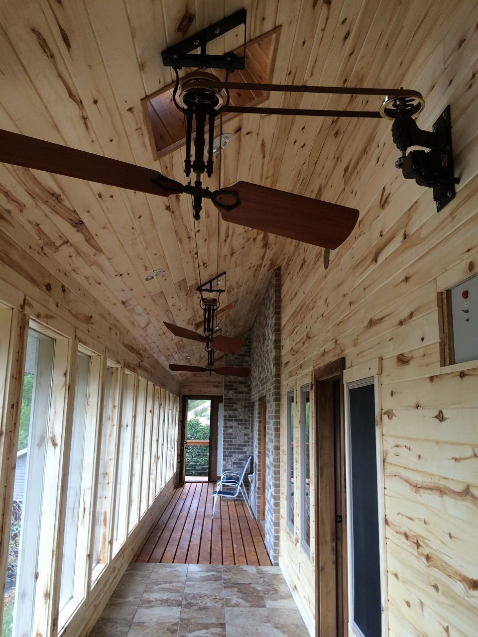 Small Ostrich Fan Belt System On Clients Porch With Hand Motor Mount Woolen Mill Fan Company Ll Belt Driven Ceiling Fans Vintage Ceiling Fans Updating House