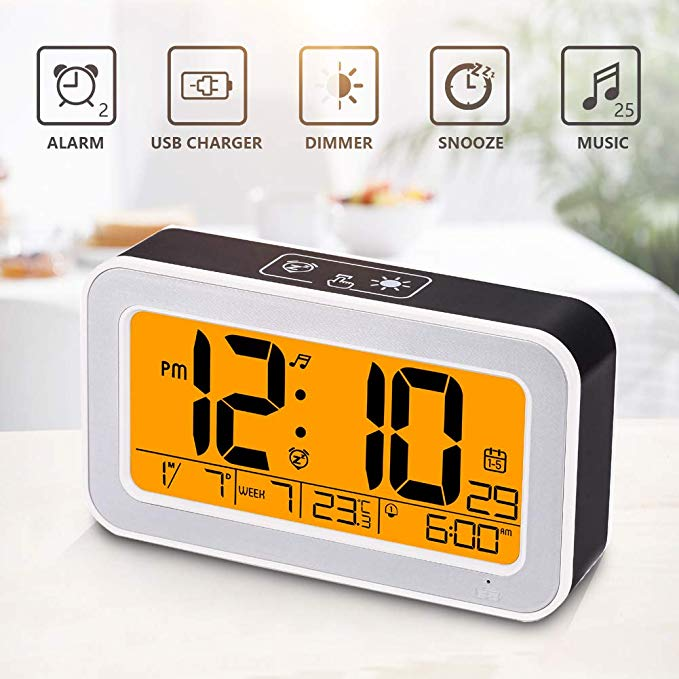 Music Alarm Clock Digital Clock For Bedroom With Dimmer Snooze Usb Rechargeable Clock With Dual Alarm Smart Touch Backlight Alarm Clock Alarm Digital Clocks