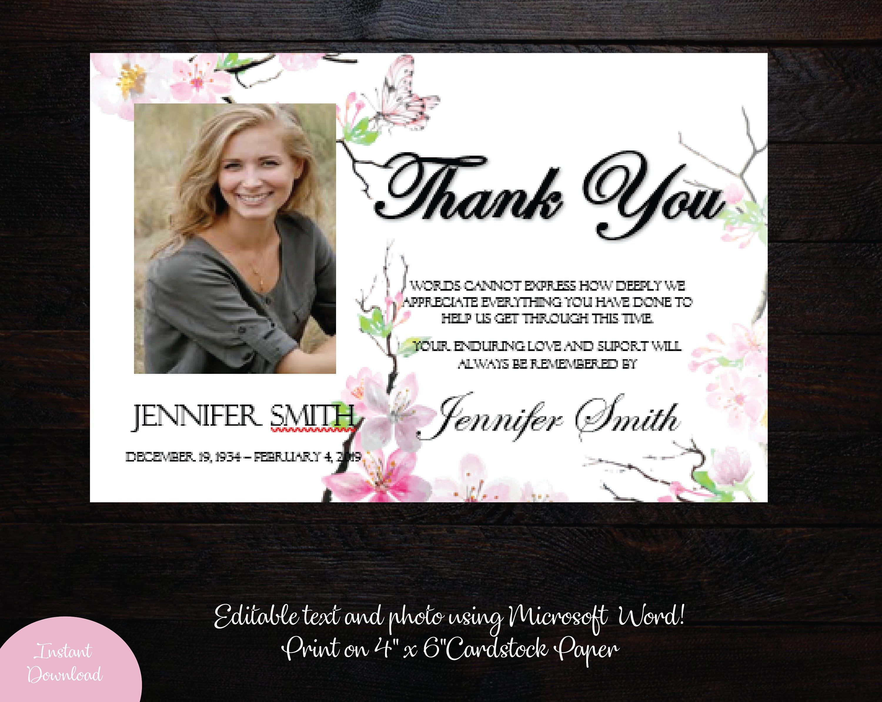 Funeral Photo Thank You Card 4 X 6 Memorial Etsy Photo Thank You Cards Thank You Card Template Thank You Cards