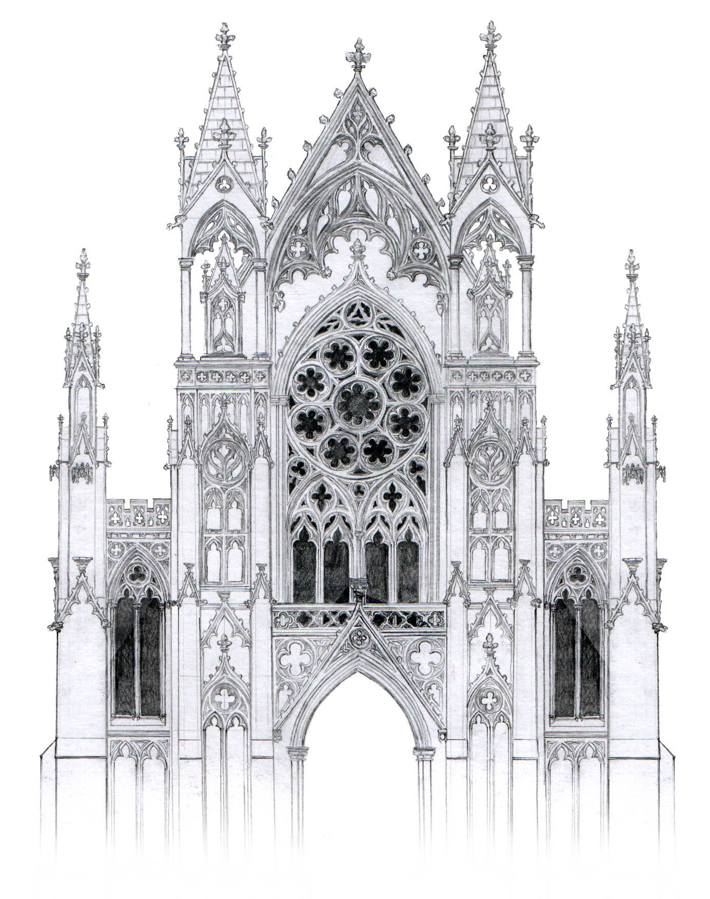Gothic facade with rose window by dashinvaine on for Building window design