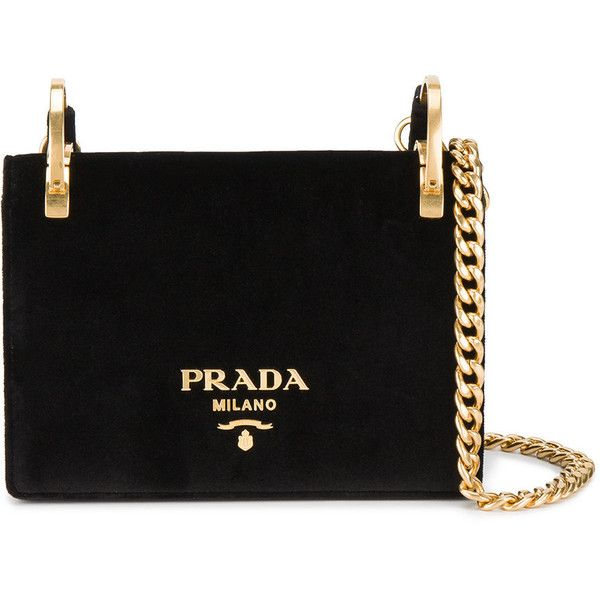 Prada Velvet Pattina Bag With Gold Chain 1 760 Liked On Polyvore Featuring Bags Handbags Shoulder Black Purse
