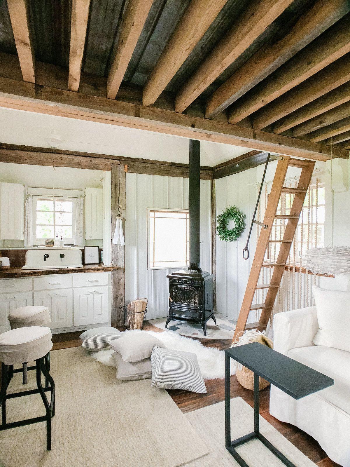 Treehouse Cabin Retreat Small Cabin Interiors Tiny Cabins Interiors Cabin Living Room #small #cabin #living #room