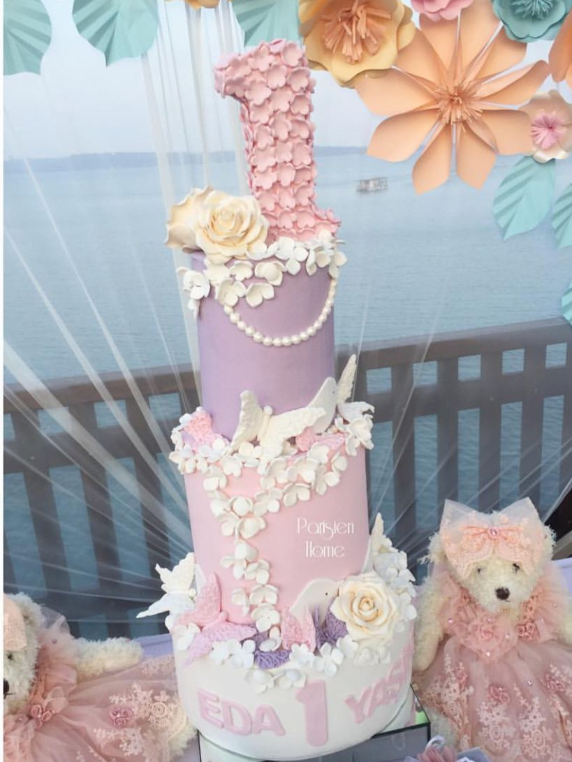 Beautiful first birthday cake wflower and butterfly accents baby