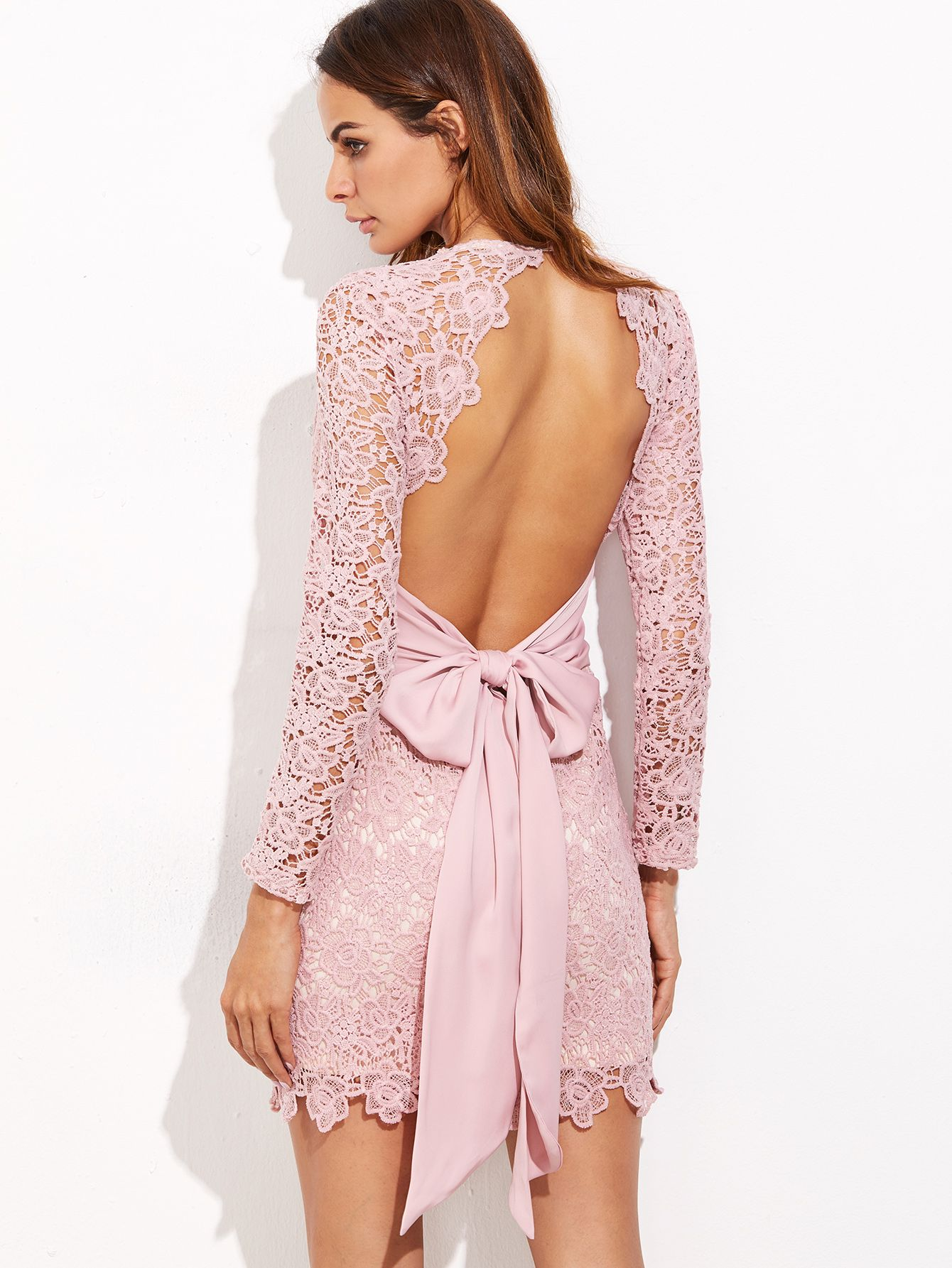 Shein Bow Tie Open Back Embroidered Lace Dress | Novios y Ropa