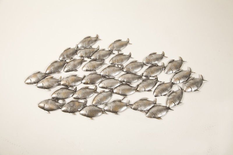 Dipamkarmetal wall art decor large aged grey school of fish sculpture statues for the garden wall