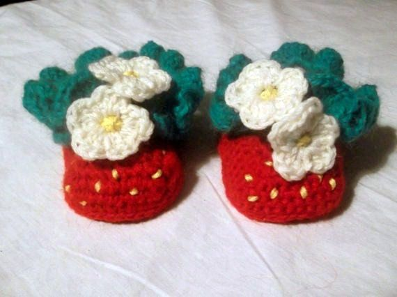 Intarsia Knitting Patterns For Children : Strawberry Baby Booties CROCHET PATTERN Instant by PatternStudio1, USD2.99 Cr...