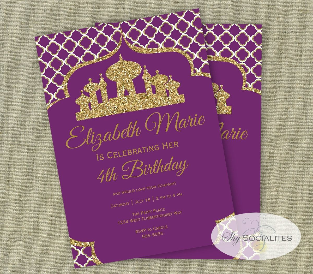 Arabian Invitation Aladdin Magic Arabian Nights Instant