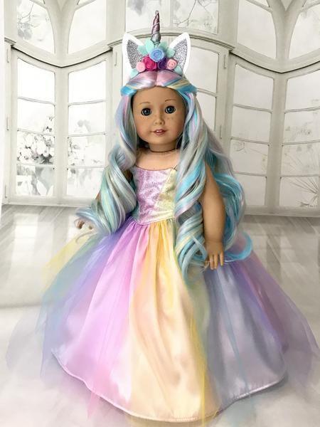 Unicorn Dress and Tiara for American Girl doll #americandolls
