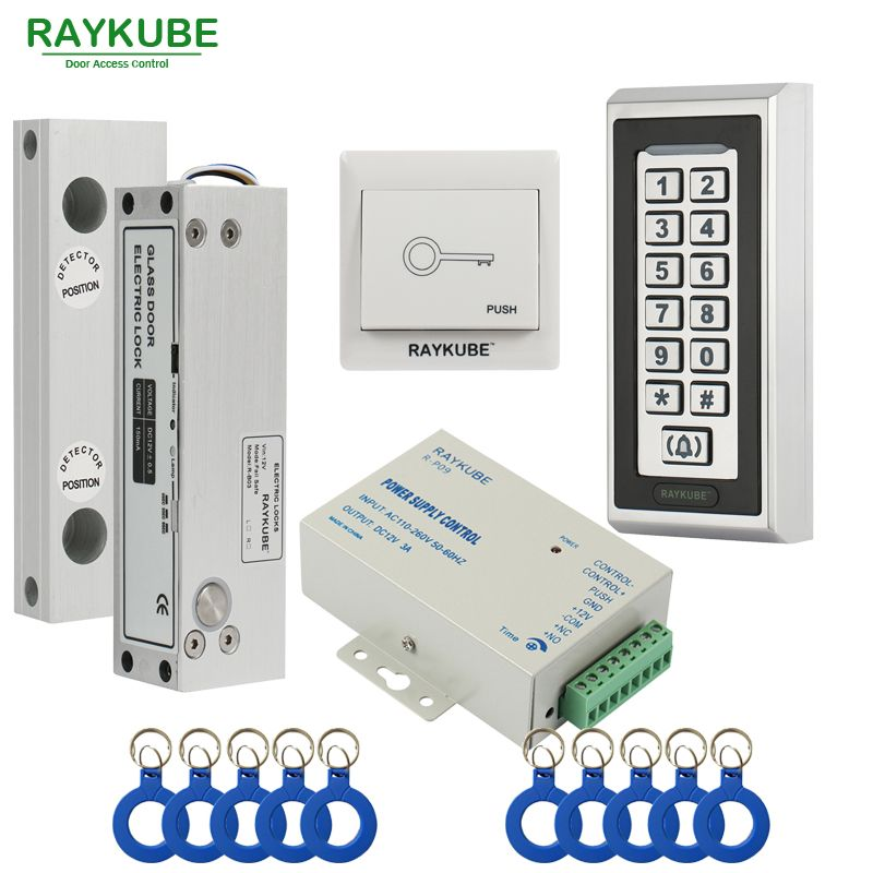 Raykube Glass Door Access Control Kit Electric Bolt Lock Metal Rfid Reader Acccess Control Keypad Fram Access Control Access Control System Keypad Door Locks