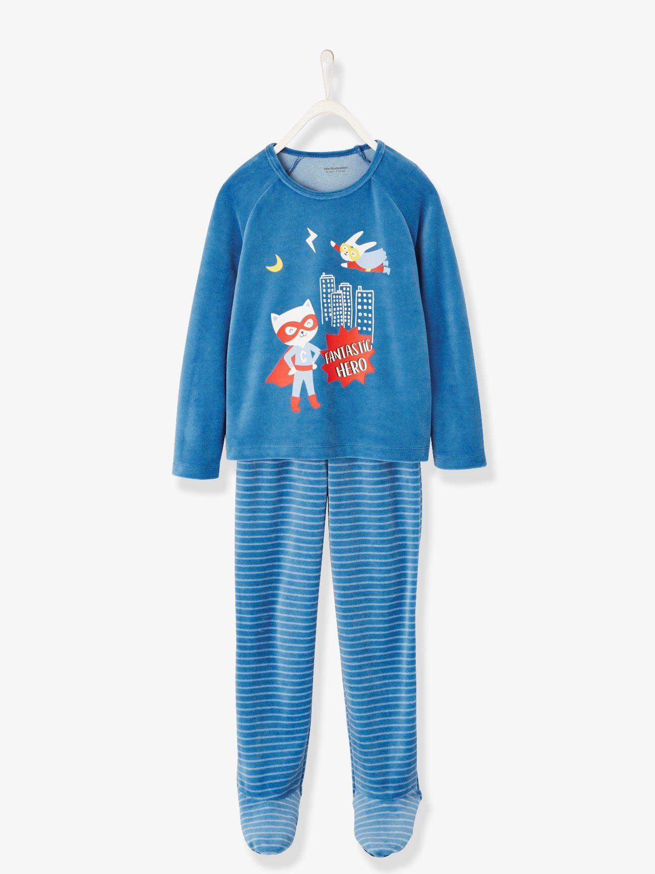 576558c2f14d8 Pyjama velours garçon avec pieds bleu petrol - Douceur velours pour ce joli  pyjama. La
