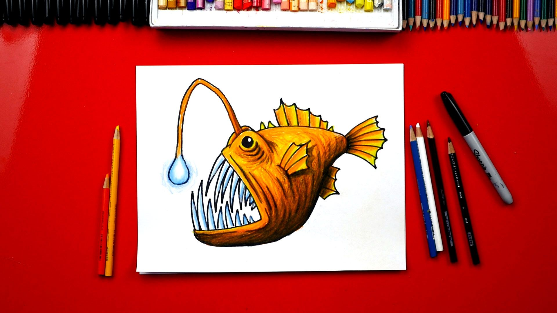 How To Draw An Anglerfish - Art For Kids Hub - | Marker paper, Fish ...