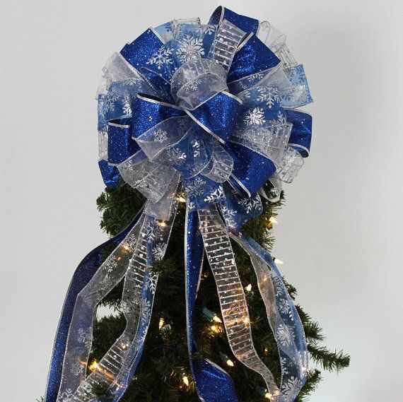 Royal Blue Sparkle Lame Snowflake Christmas Tree Topper Bow Christmas Tree Bow Royal Blue Christmas Bow Christmas Tree Topper Bow Fun Christmas Decorations Tree Topper Bow
