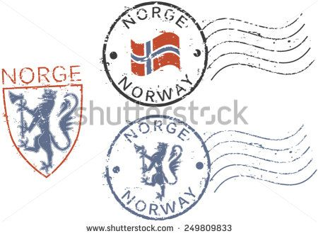 Three Postal Grunge Stamps Norway English And Norwegian Inscription
