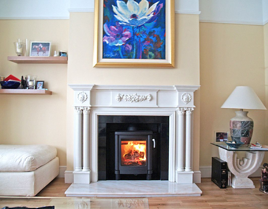 Reproduction Open Gas Fireplace With Marble Hearth And