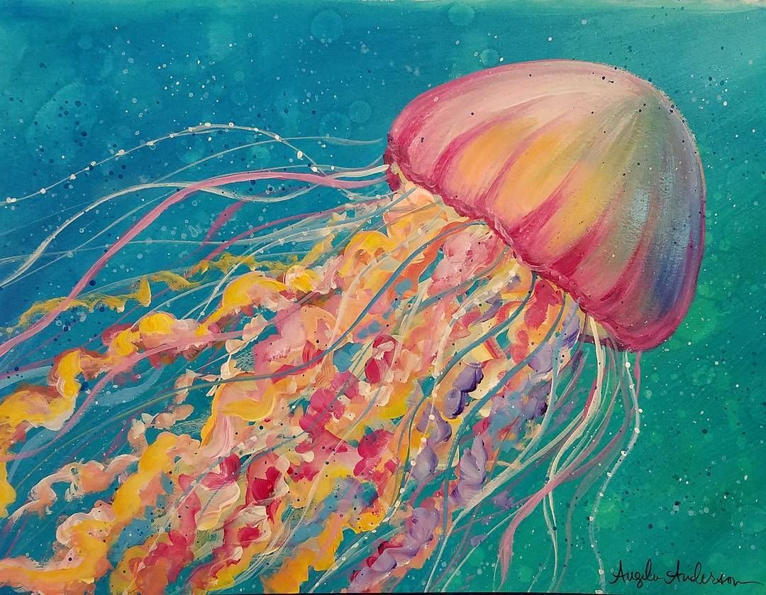 Jellyfish acrylic tutorial live on youtube by angela for Jelly fish painting