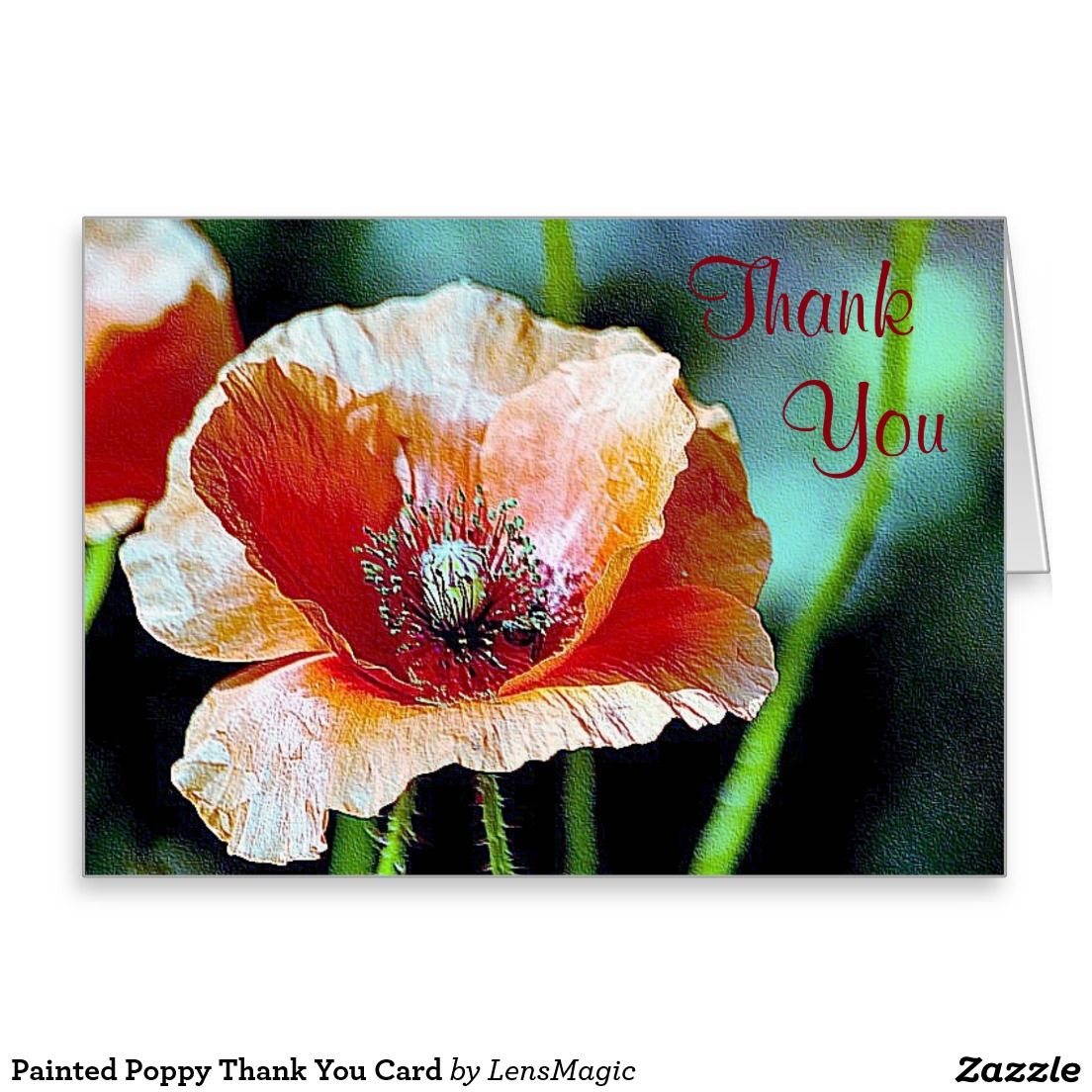 Painted Poppy Thank You Card