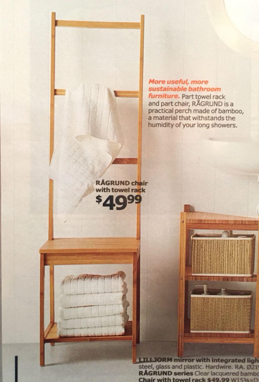 IKEA Ragrund Bathroom Chair with Towel Rack $9.9  Outdoor towel