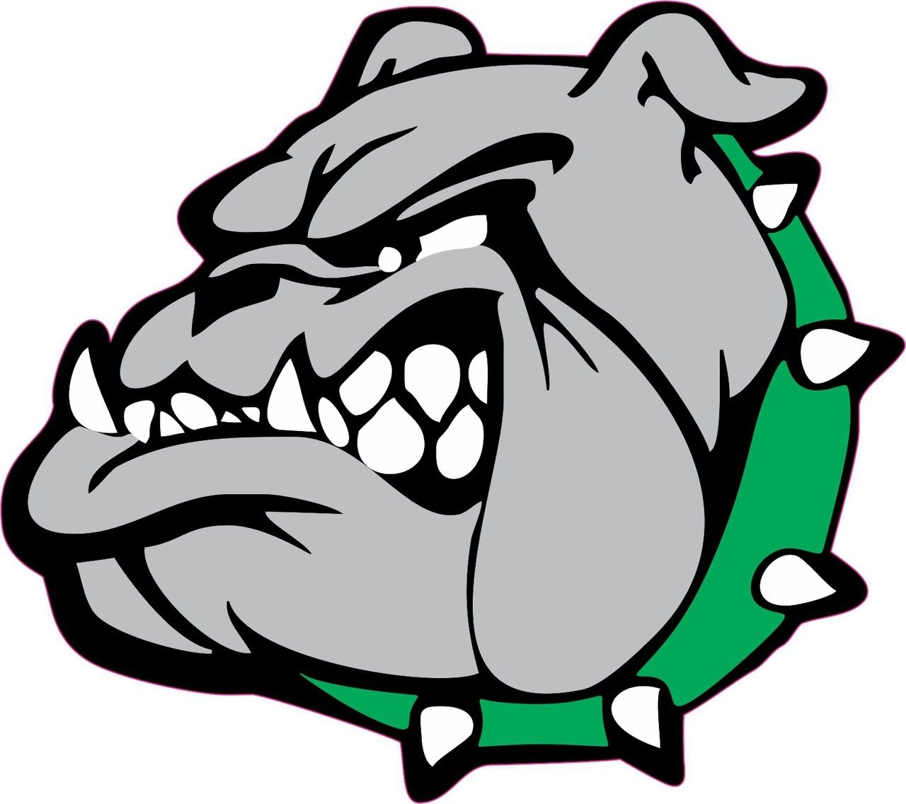 5in X 4 5in Green Collar Bull Dog Mascots Bumper Sticker Vinyl