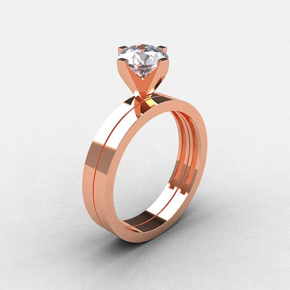 Modern 14k Rose Gold 1 0 Ct White Shire Solitaire By Artmasters Engagement Ringsengagement