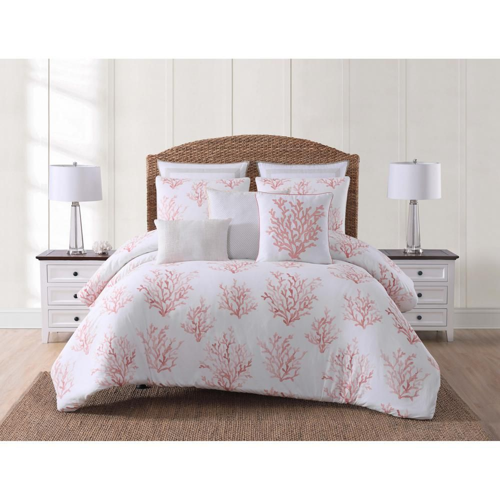 Oceanfront Resort Cove 3 Piece White And Coral King Duvet Cover