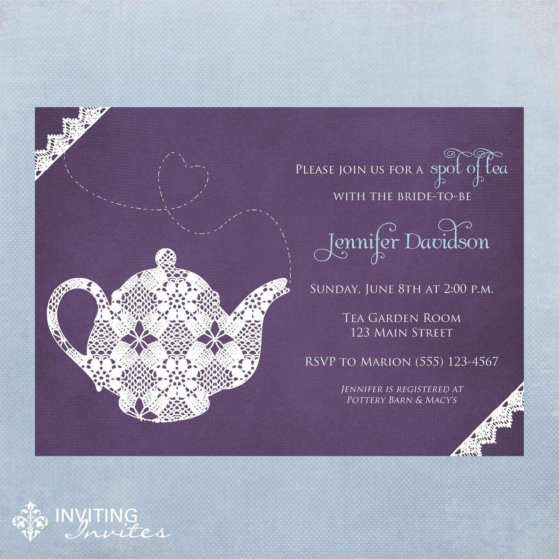 Tea Party Invitation Printable, Digital File. $15.00, via Etsy ...