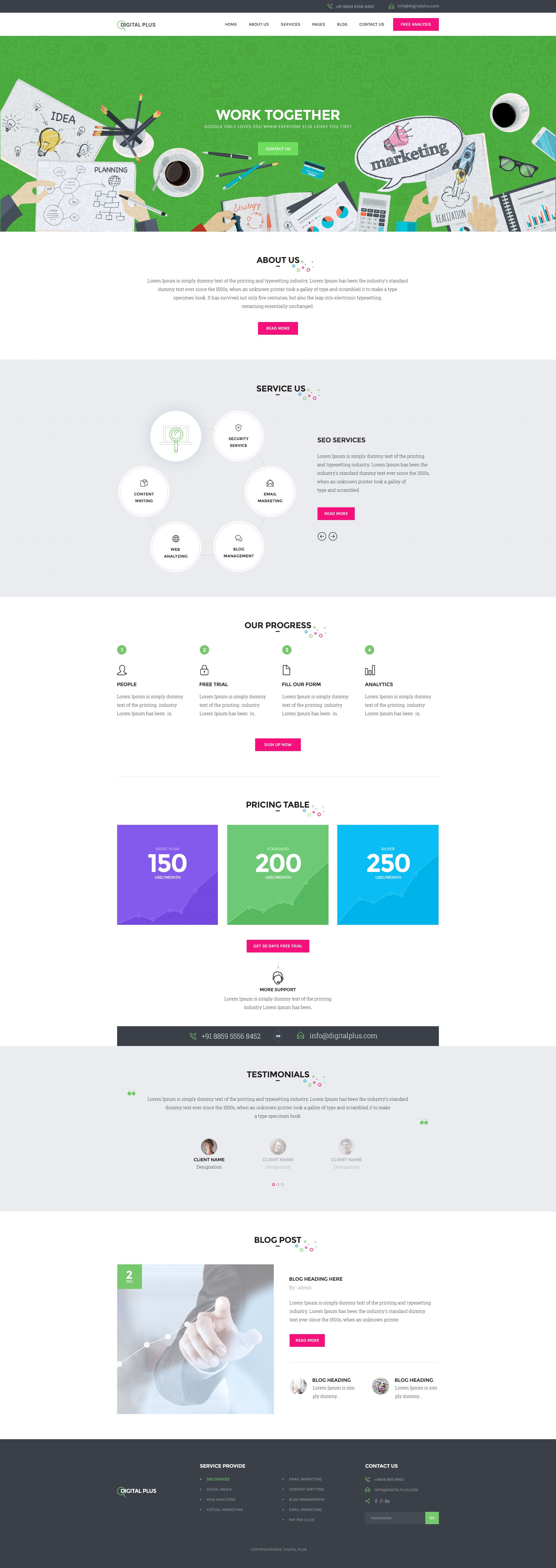 Digital Plus - SEO/Marketing HTML5 Template #SEO, #Digital