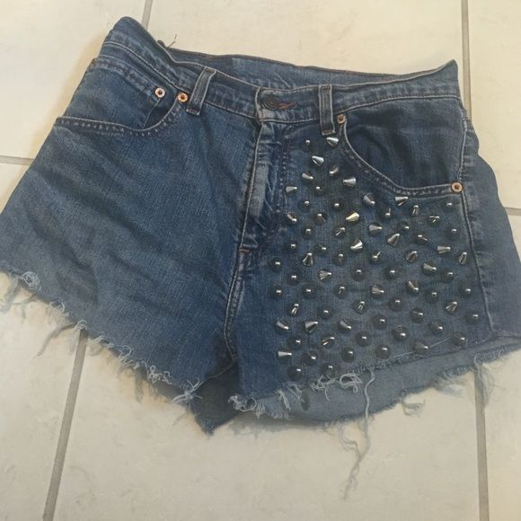 LF Levi's shorts from LF. Bought with altered hem and stains on back pocket as shown in pictures. Fits like a medium LF Shorts Jean Shorts