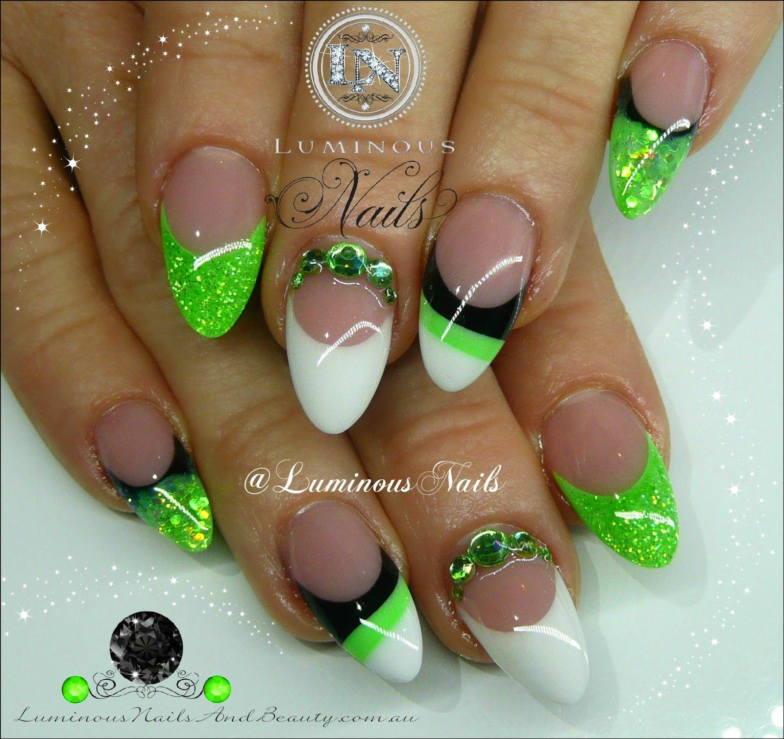 luminous nails lime green white & black nails