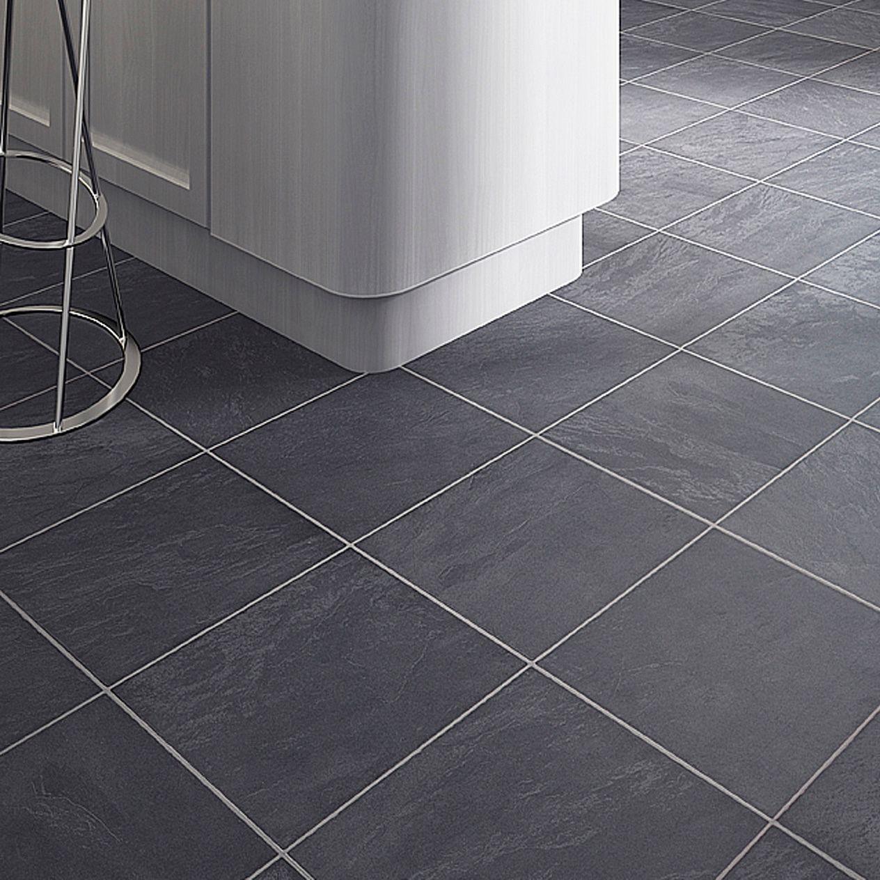 Black slate tile effect laminate flooring for kitchens http black slate tile effect laminate flooring for kitchens dailygadgetfo Images