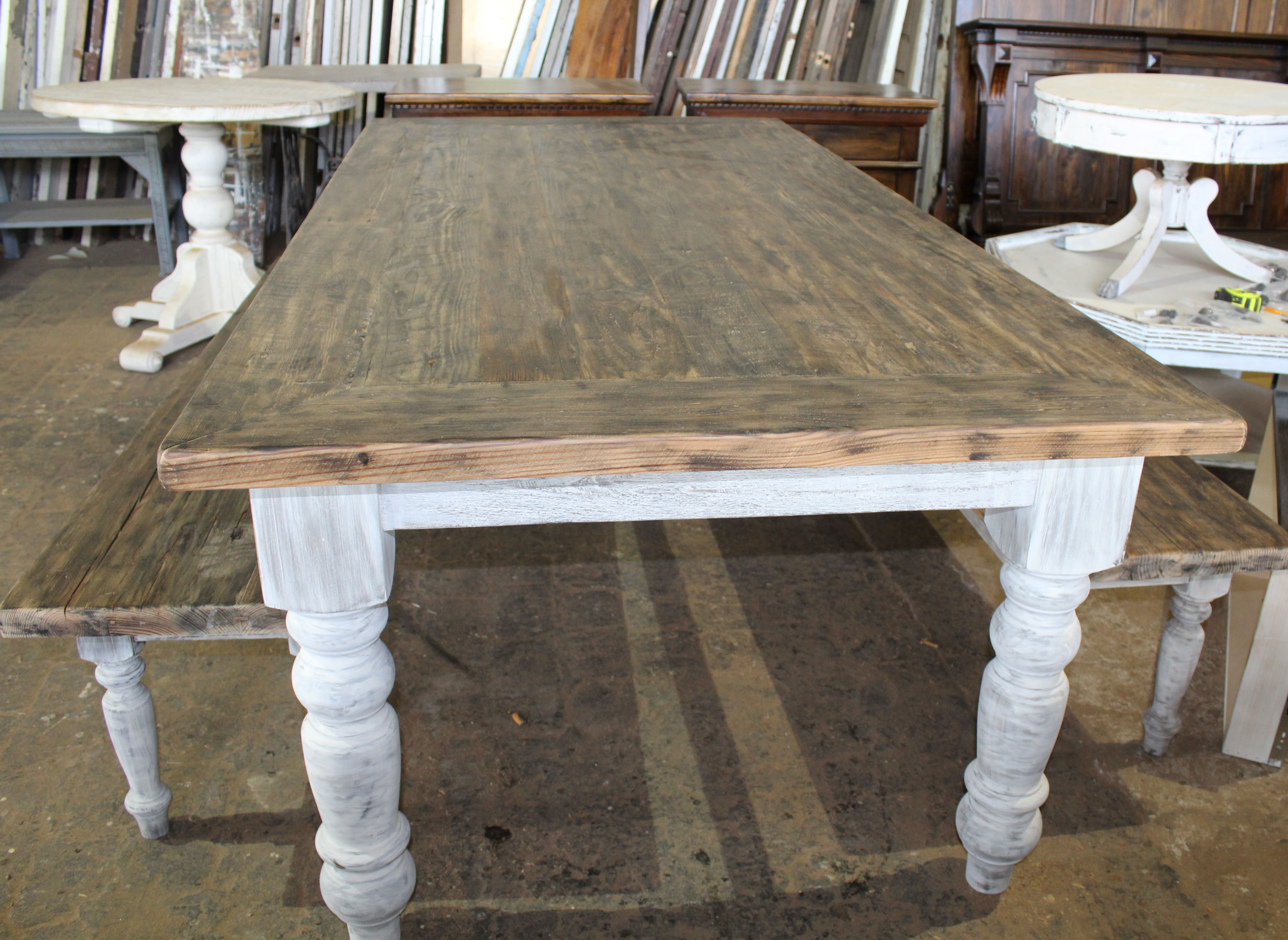 Beautiful handcrafted farm table with french provincial base and