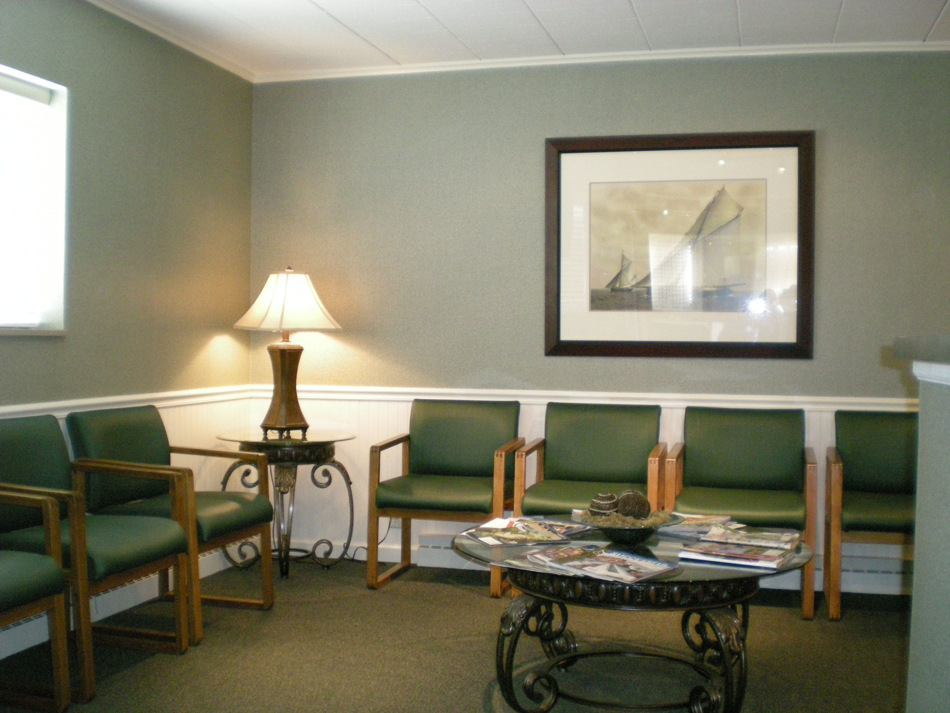 Waiting Room interior design with green chairs