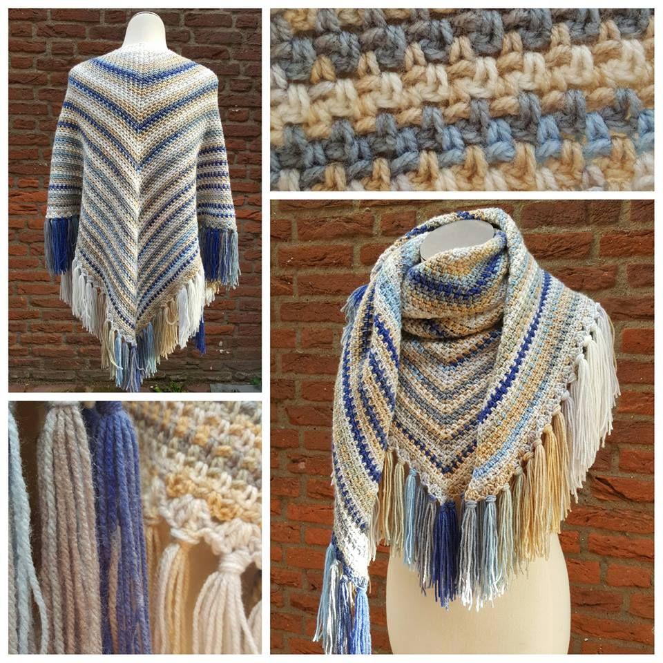 Omslagdoek in granietsteek, 4 bollen Papatya batik. | Sjaals ...