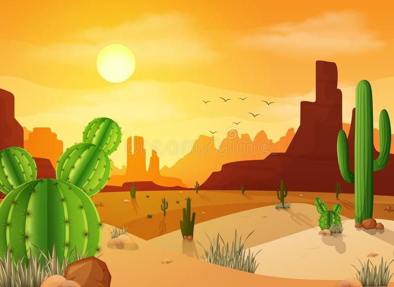 Desert Landscape With Cactuses On The Sunset Background Illustration Of Desert Affiliate Cactuses Landscape Desert Drawing Sunset Background Desert Art