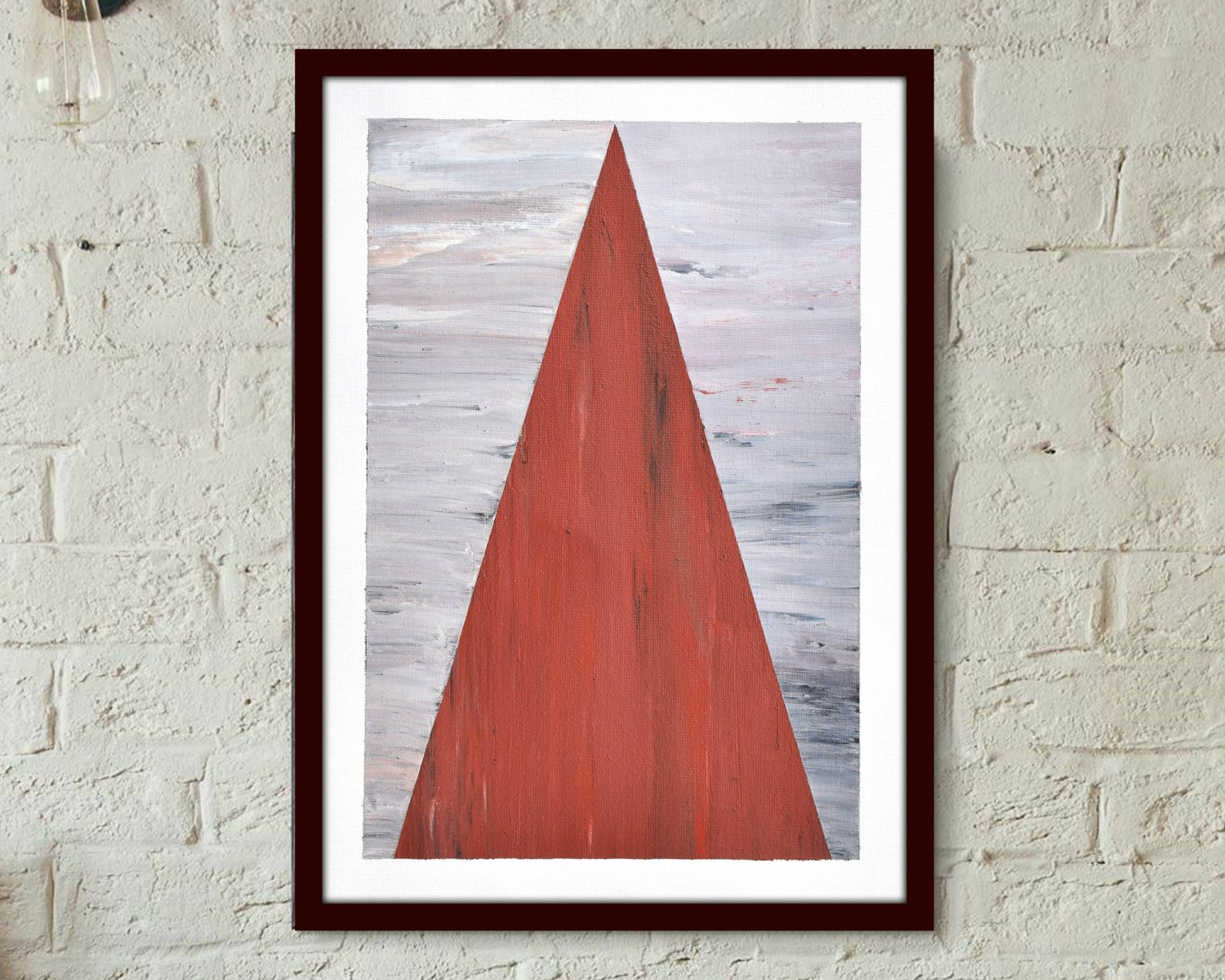 "Geometric Abstract Triangle Painting, ""Red Peak"" Original Hand Made Acrylic on…"
