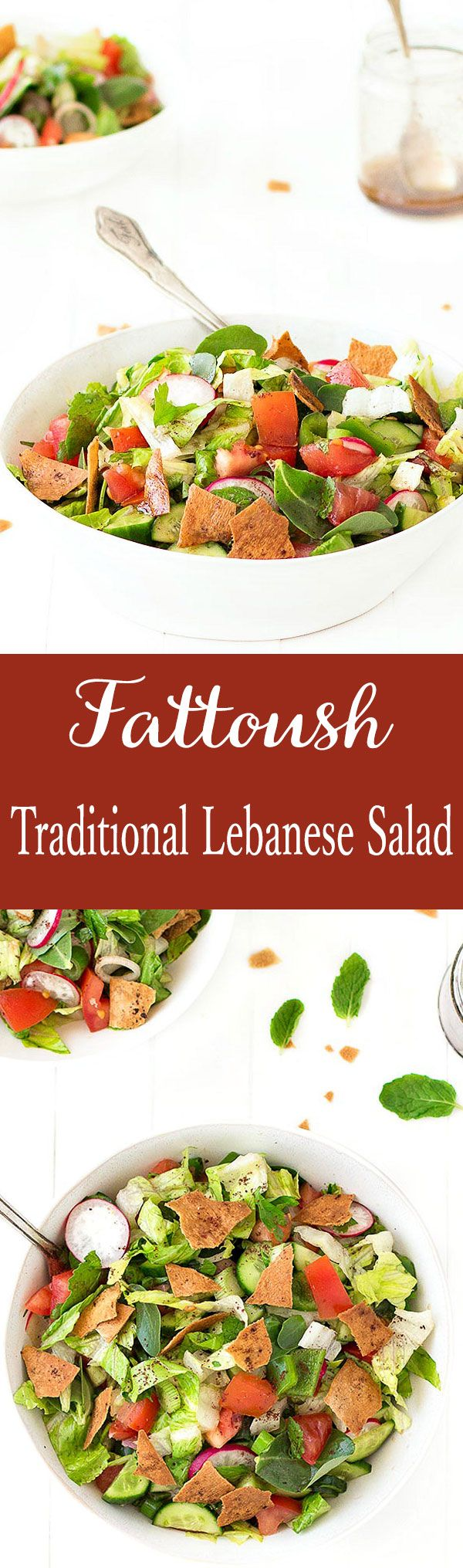 Fattoush is a traditional Lebanese salad, colorful, refreshing, crunchy and full of flavor.