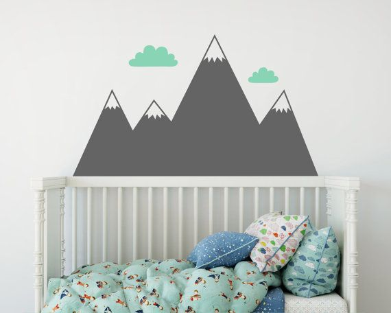 Mountain Wall Decal Nursery Decal Mountain Decals Kids Room