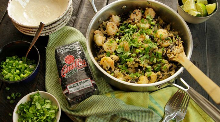 Shrimp and Black Bean Skillet Casserole - prep your ingredients ahead of time, and this recipe comes together quickly and easily in one large skillet. Bright and fresh flavors!