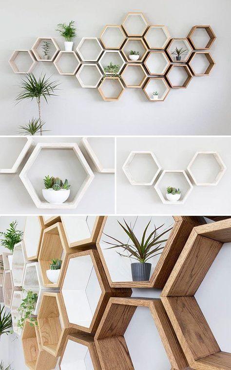 Rustic White Hexagon Wall Shelf In Solid Oak Rustic White Oak