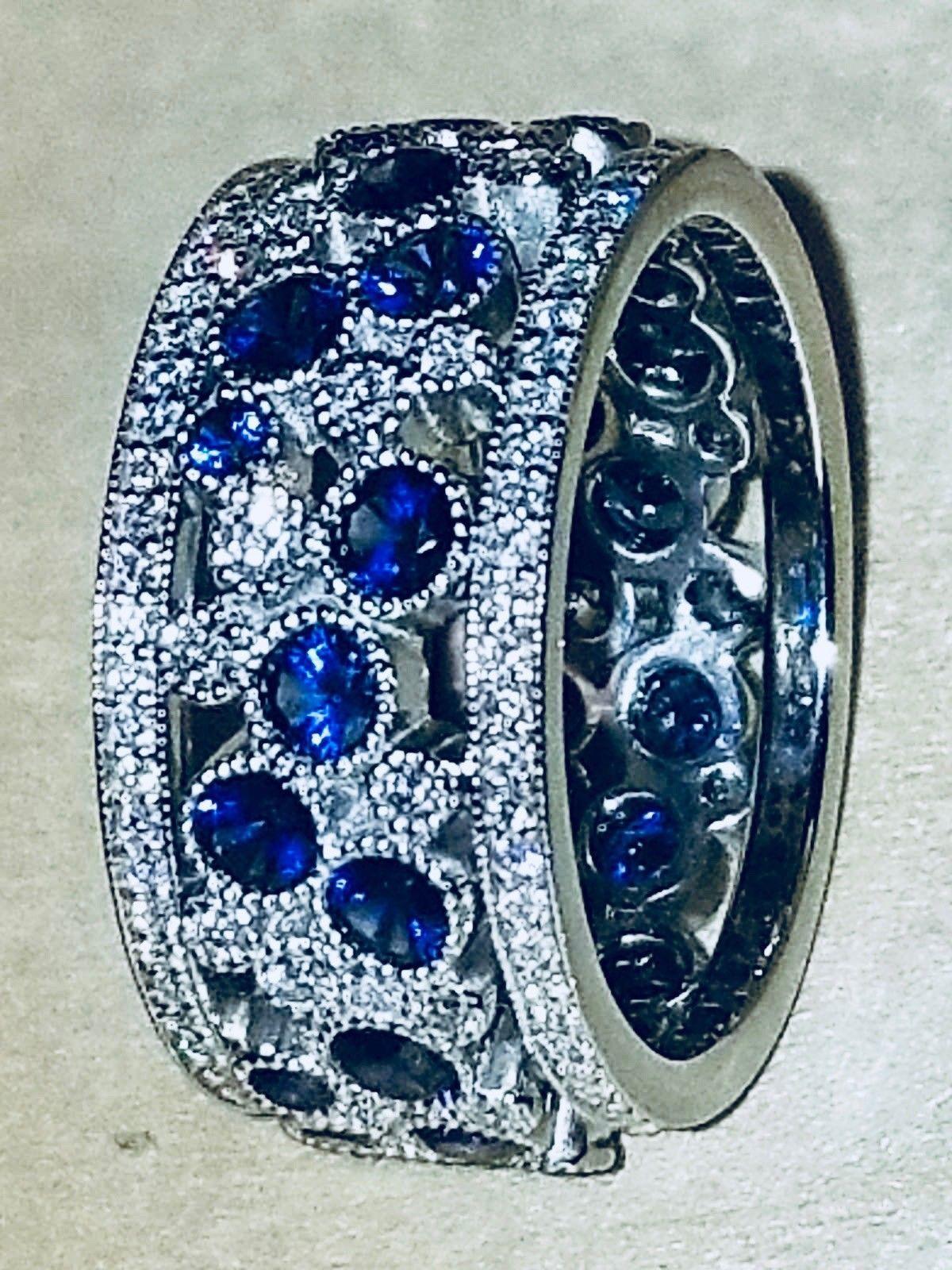f1dec0d0d TIFFANY & CO. Cobblestone Diamond and Blue Sapphire Band Ring / Size 6.5