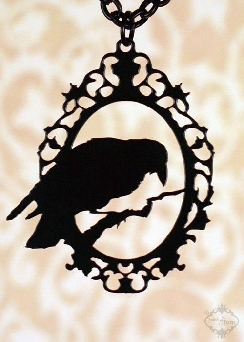 Perched Raven - framed raven necklace in black stainless steel