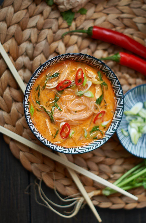 Rote Thai Curry Suppe mit Hähnchen und Pak Choi - Kochen und Dips -