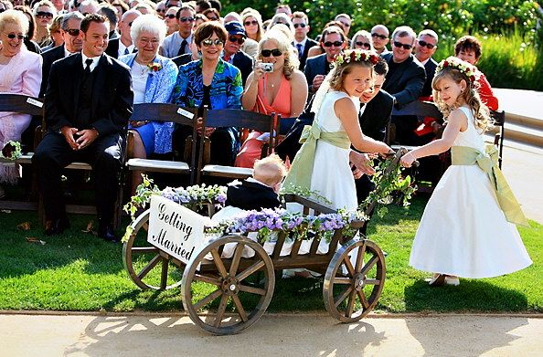 Large Flower Girl Wedding Wagon Stained Dark Brown by Miniwagons