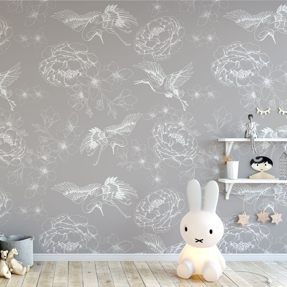 SelfAdhesive Chinoiserie Wallpaper Sticker • Taupe Grey