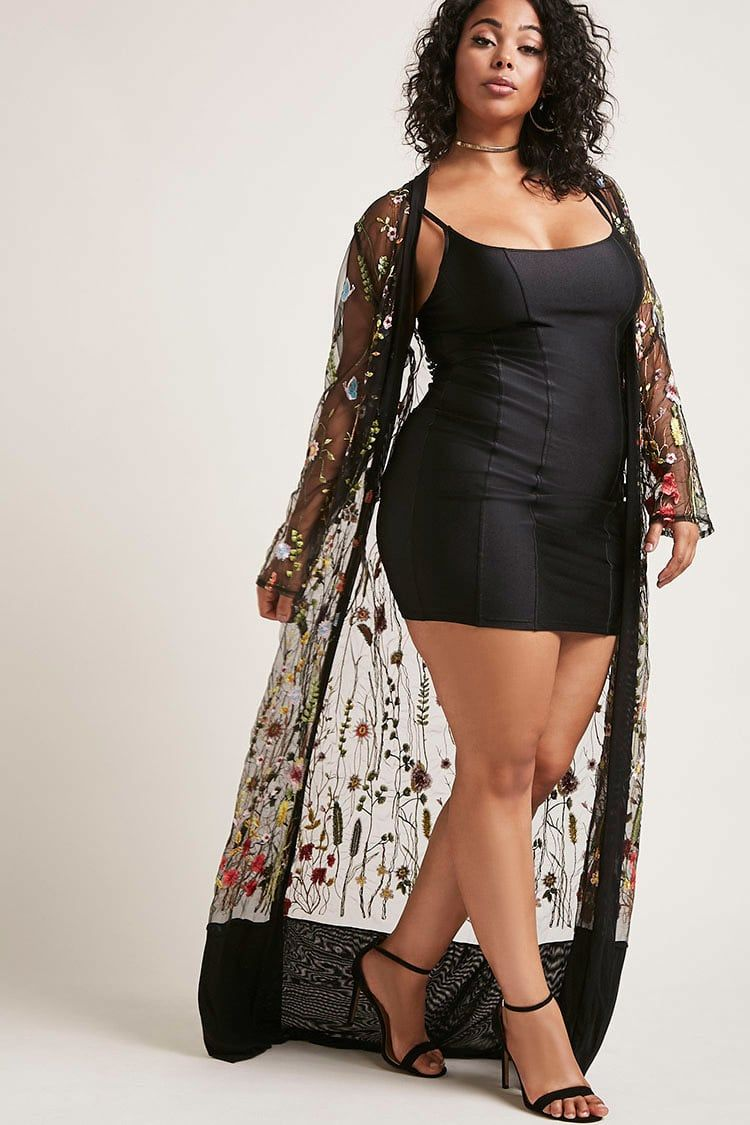 9f5c1f2d21b Forever 21+ - A sheer mesh kimono featuring allover floral and butterfly  embroidery